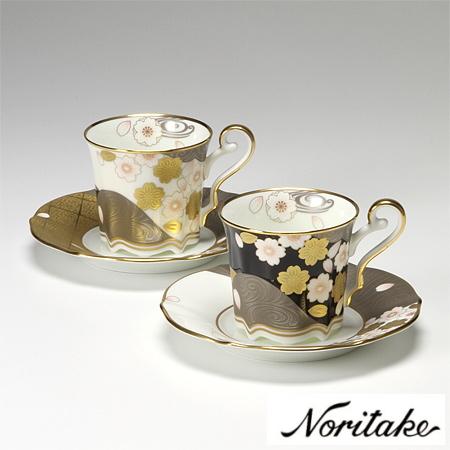 【ノリタケ】≪あやみなも 桜金銀彩≫コーヒー碗皿ペアセットペア碗皿 内祝い お返し 出産内祝い 結婚お祝い 結婚内祝い 母の日 父の日 誕生日プレゼント コーヒーペアセット