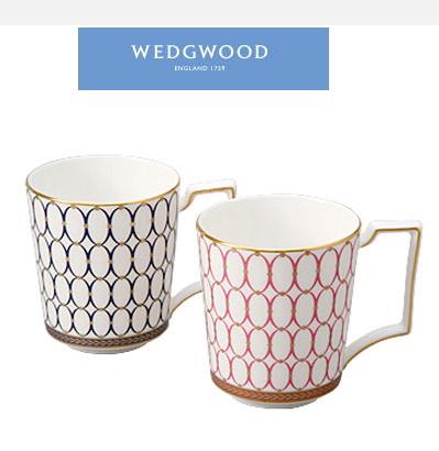 WEDGWOOD ウェッジウッドルネッサンスゴールドマグカップ ペアギフトセット (ピンク&ブルー) ご挨拶 ギフト 結婚内祝い 引出物 内祝い お返し 出産内祝い 快気祝い プレゼント 記念品