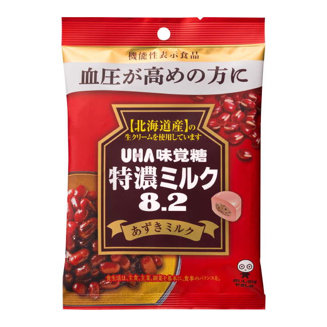 (本州一部送料無料)味覚糖 特濃ミルク82 あずきミルク (6×12)72入 機能性表示食品 【ラッキーシール対応】