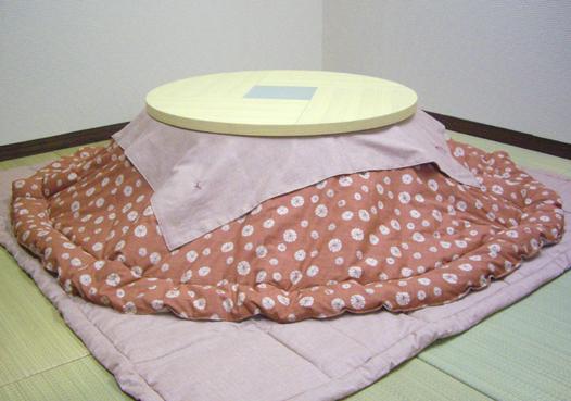 備長炭パウダー綿入り丸型おこたふとん(丸型こたつ布団)120cm用