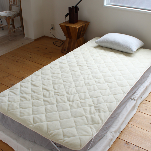 メリノウール敷きパッド 100×205cm シングルサイズ 天然素材 【日本製】