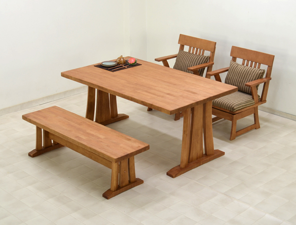 4 150 Cm Dining Table Set Bench Swivel Chair With Elbow Kuram 370 Natural  Wood Japanese Style By Making This Eye Dining Table 4 Piece Dining Set 4  People ...