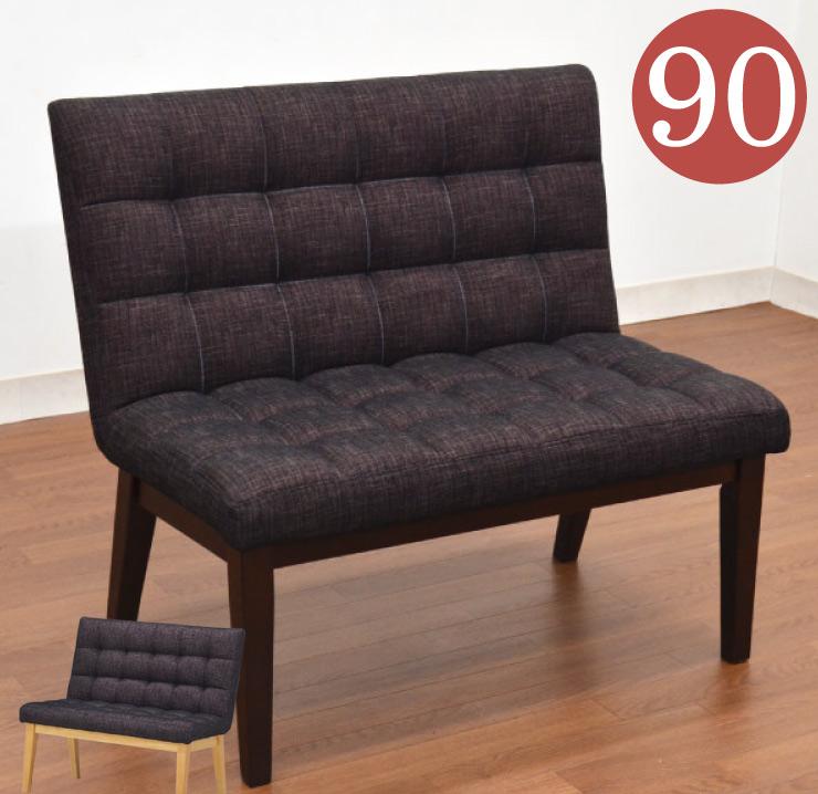 ダイニングベンチ 背もたれ付 ファブリック チェア roz-ben-361dgy 2人 木部 ナチュラル シートカラー クッション 北欧 食卓椅子 ソファチェア モダン おしゃれ かわいい 木製 カフェ風 待合室 玄関ベンチ お客様組立品 5 m815