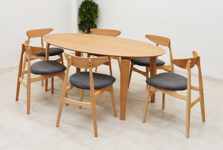 Ellipse table width 180 cm dining seven points set Chair type 2 type  marut180-7-351 Nordic wood oak wood dining table sets 6 people hung,  fashionable ...