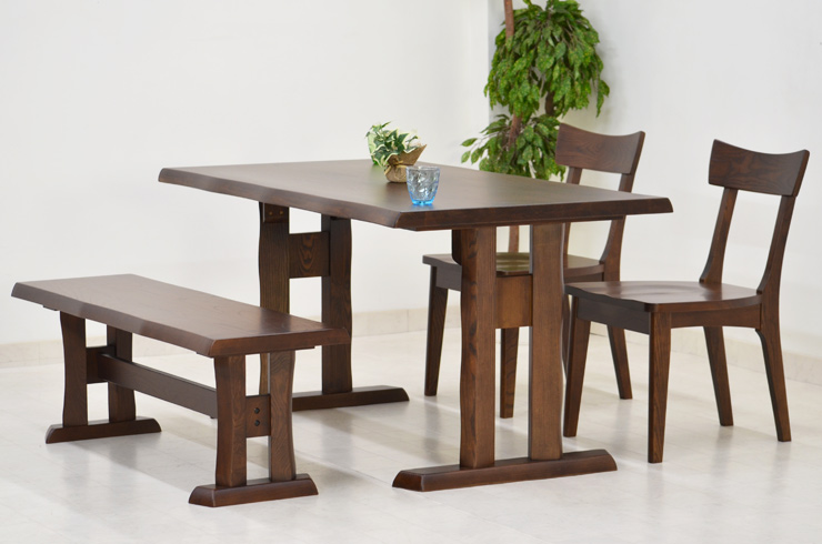 ダイニングテーブルセット ベンチ 4点 北欧 幅 140cm hida-351 ブラウン 椅子2脚+ベンチ ダイニングテーブル 4点セット ダイニングセット 4人用 4人掛け 木製 天然木 アッシュ材 板座チェア