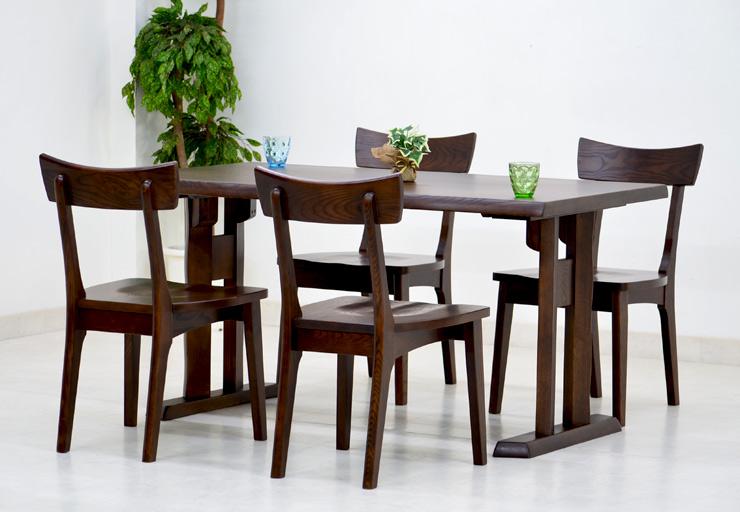 ダイニングテーブルセット 5点 北欧 幅 140cm hida-351 ブラウン 椅子 4脚 ダイニングテーブル 5点セット ダイニングセット 4人用 4人掛け 木製 天然木 アッシュ材 板座チェア