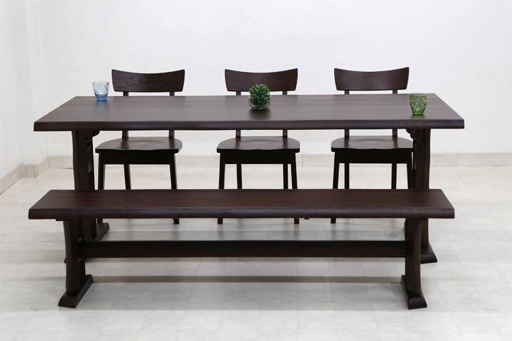 ダイニングテーブルセット 6人掛け ベンチ 5点 北欧 幅 190cm hida-351 ブラウン 椅子3脚+ベンチ ダイニングテーブル 5点セット ダイニングセット 6人用 木製 天然木 アッシュ材 板座チェア