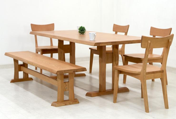 ダイニングテーブルセット 6人掛け ベンチ 6点 北欧 幅 190cm hida-351 ナチュラル 椅子4脚+ベンチ ダイニングテーブル 6点セット ダイニングセット 6人用 7人用 木製 天然木 アッシュ材 板座チェア