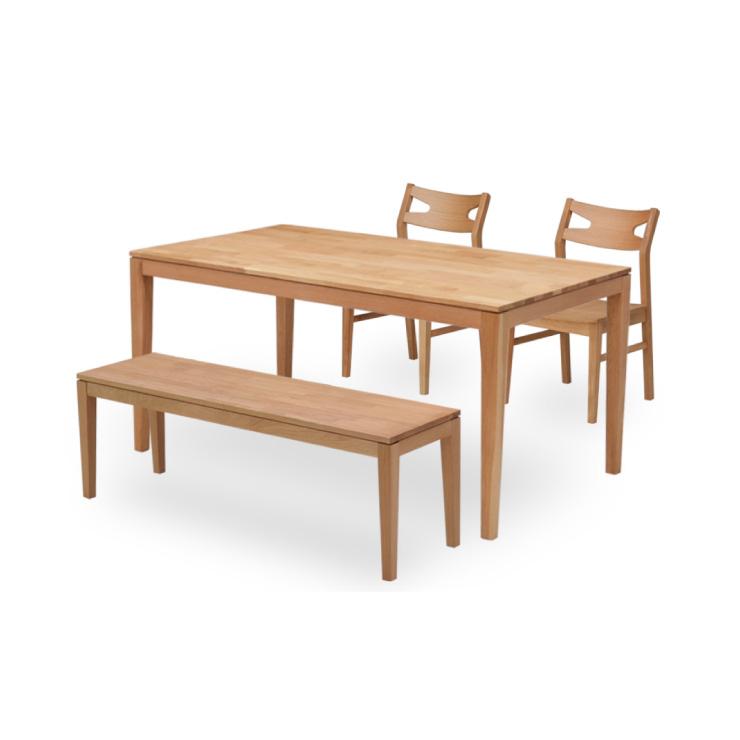 ダイニングテーブルセット ナチュラルオーク 幅150cm 4点セット 木製 板座 ベンチチェア kapuri150-4-roza351 4人掛け モダン カントリーテイスト カフェ風 ナチュラルキッチン 食卓セット ウッドダイニング シンプル 木目 アウトレット 22s-3k hr