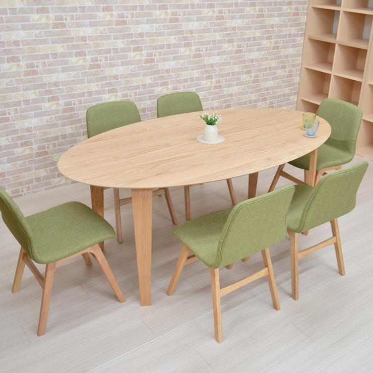 ダイニングテーブルセット 7点セット 楕円 幅180cm marut180-7-pani339naok ダイニングセット オーバル ナチュラルオーク色/NA-OAK 6人用 机 テーブル 木製 ファブリック 布張り チェア 椅子 台所 キッチン 食卓 GR色 北欧 シンプル お客様組立品 31s-8k