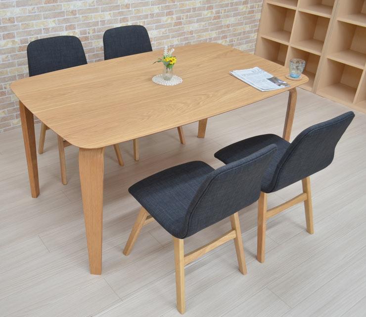 ダイニングテーブルセット 5点セット 幅150cm marut150kaku-5-pani339naok ダイニングセット ナチュラルオーク色/NA-OAK 4人用 4人掛け 机 テーブル 木製 ファブリック チェア 椅子 イス キッチン 食卓 DGY色 シンプル お客様組立品 22s-6k