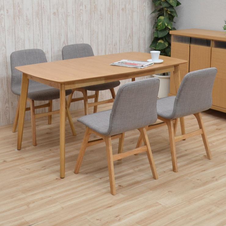 ダイニングテーブルセット 140/180 5点セット 伸長式 pani140-5-339oklge 4人掛け ダイニングセット ナチュラルーオーク 木製 ファブリック 伸縮式 クッション 伸張式 ウッド 食卓 北欧風 リビング テーブル アウトレット 22s-5k m80nk