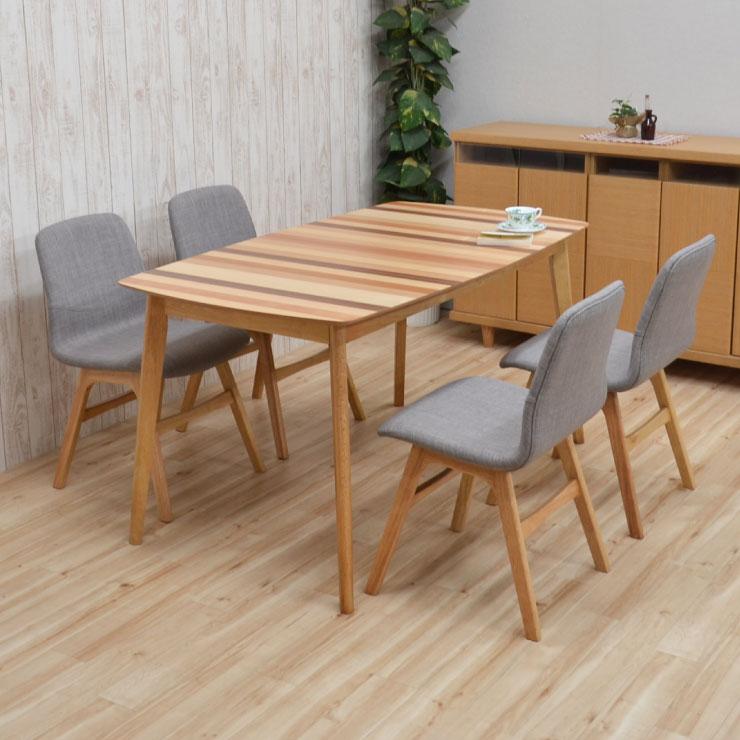 ダイニングテーブルセット 140/180 5点セット 伸長式 pani140mix-5-339nolge 4人掛け ダイニングセット ボーダー ファブリック 伸縮式 クッション 伸張式 ミックス ウッド 食卓 北欧風 リビング テーブル アウトレット 22s-5k m85nk