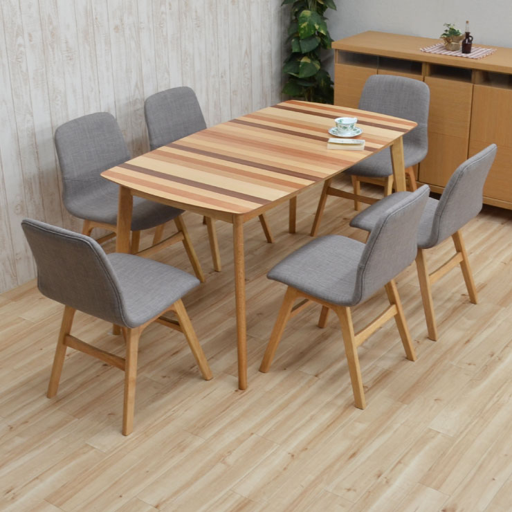 ダイニングテーブルセット 180/140 7点セット 伸長式 pani140mix-7-339nolge ダイニングセット 6人掛け ミックスウッド 木製 ファブリック クッション 伸縮式 伸張式 ボーダー 食卓 北欧風 リビング テーブル アウトレット 30s-7k m85nk