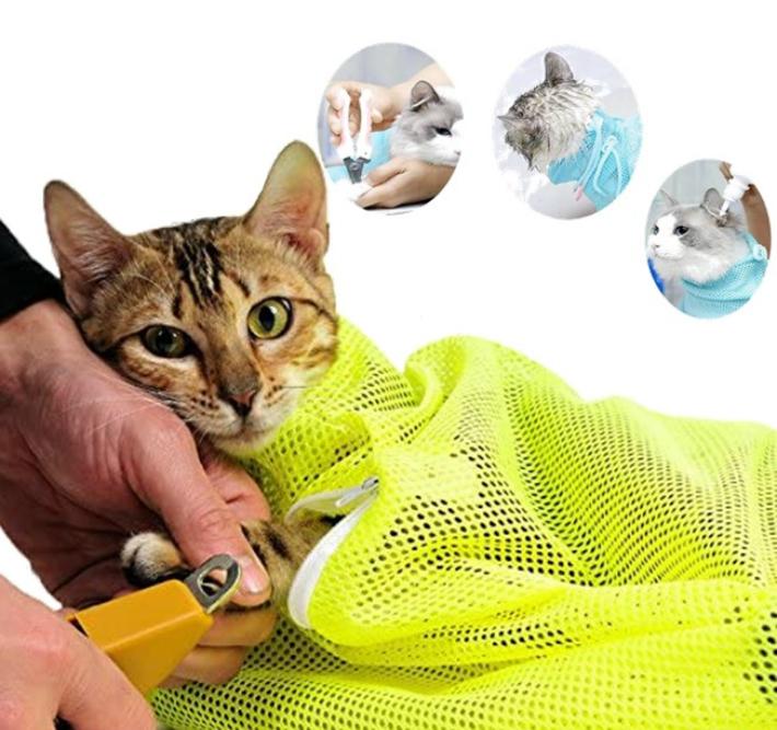 猫用 ネット みのむし袋 メッシュ 猫 おちつく シャンプー つめきり 評判 開店記念セール 点眼 耳掃除 爪切り 4色