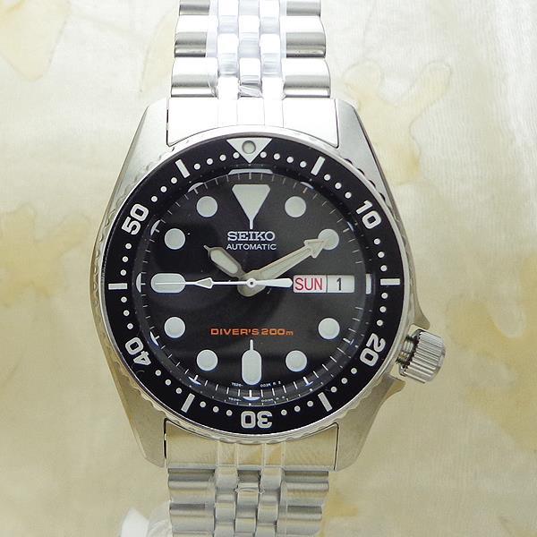 SEIKO [SKX013K2]逆輸入セイコー 自動巻き ダイバー ブラック ボーイズサイズメンズ腕時計/ブラック