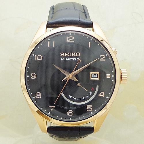SEIKO [SRN054P1]逆輸入セイコー キネティック レトログラード ダイバーズ 革ウォッチ/SEIKO KINETIC WATER RESISTANT 10BAR LEATHER/ブラック・ピンクゴールド BLACK&PINK GOLD