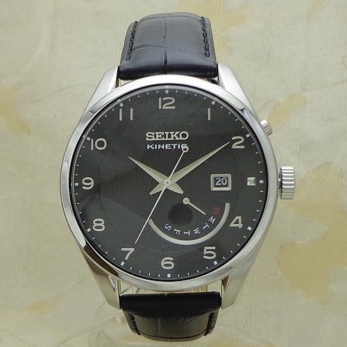 SEIKO [SRN051P1]逆輸入セイコー キネティック レトログラード 革ウォッチ/SEIKO KINETIC WATER RESISTANT 10BAR LEATHER/ブラック BLACK