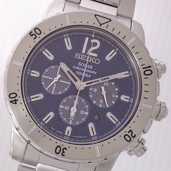 SEIKO 逆輸入 セイコー SSC221P1 SOLAR CHRONOGRAPH Date 100m 防水 メンズ 腕時計 ソーラー クロノグラフ デイト スモール セコンド ウォッチ ブルー 日本製 ムーブ カレンダー
