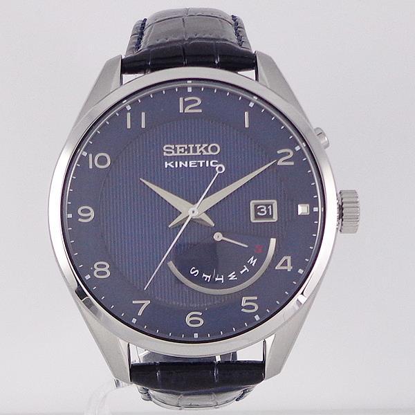 SEIKO [SRN061P1]逆輸入セイコー キネティック レトログラード 革ウォッチ/SEIKO KINETIC WATER RESISTANT 10BAR LEATHER/ダークブルー・シルバー DARK BLUE&SILVER