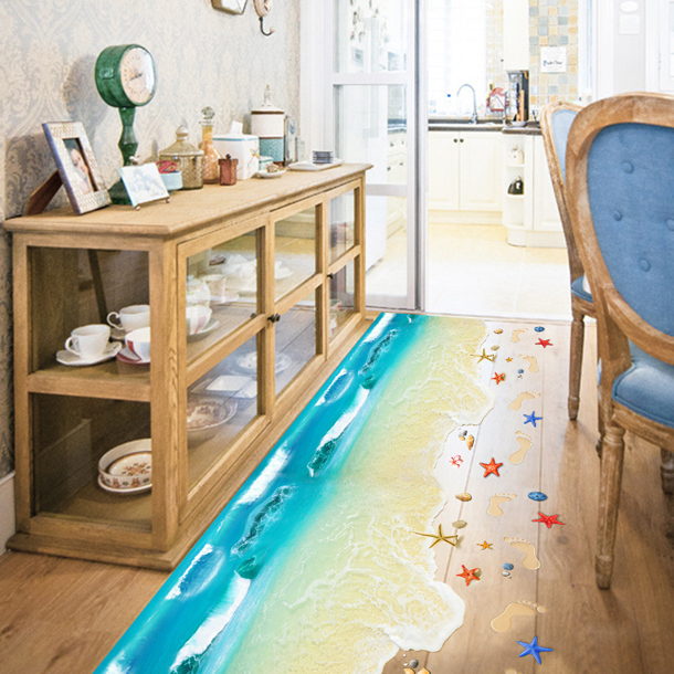 【楽天市場】ウォールステッカー3D ビーチオーシャン壁紙 インテリア ウォールステッカー床 トリックアート 海