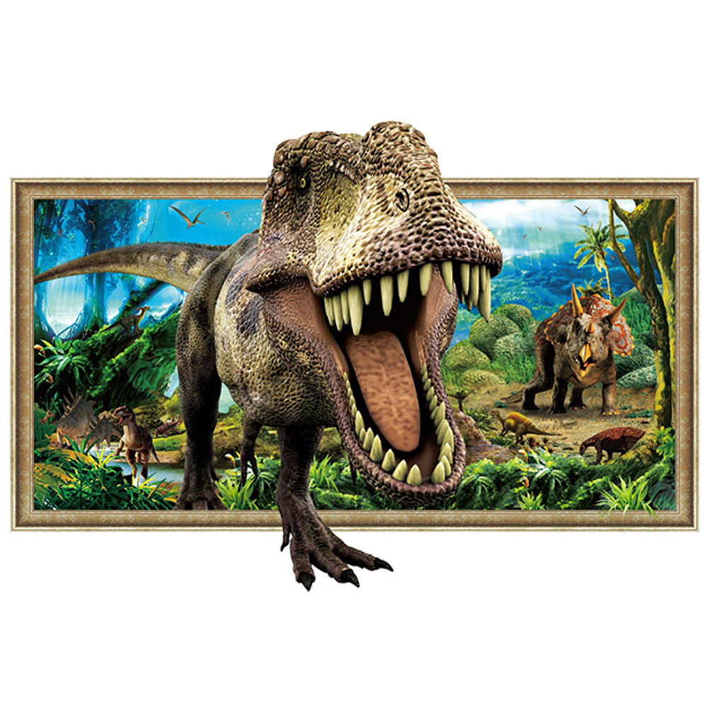楽天市場 ウォールステッカー 3dウォールステッカー 恐竜飛び出す3d風 恐竜トリックアート ウォールステッカー 壁紙 絵画 絵画から飛び出す恐竜 壁紙ウォールステッカー 壁穴 だまし絵インテリアシール 子供部屋にも安心 Takara Fune