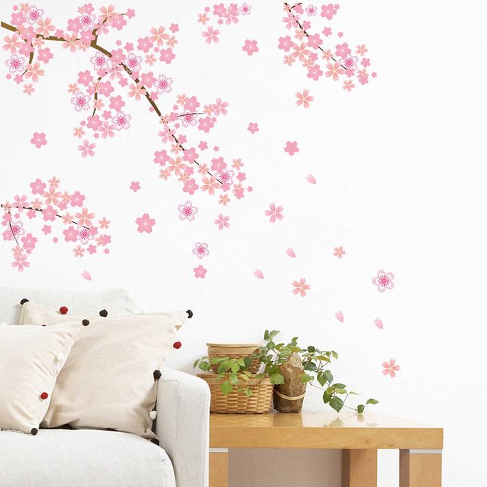 楽天市場送料無料 ウォールステッカー 桜 壁紙二本の桜の花セット