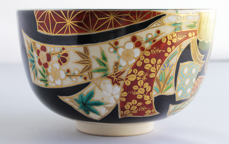 加藤利昇 束熨斗茶碗  京焼 利昇窯 (茶道具・抹茶茶碗)