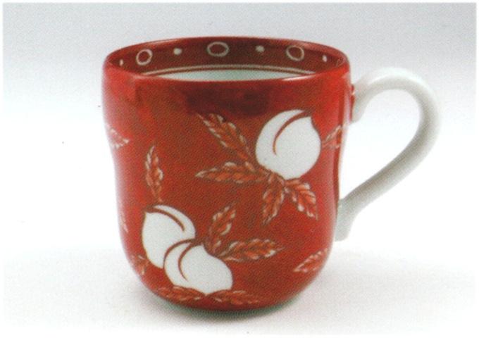 源右衛門窯 赤濃桃ちらしマグカップ