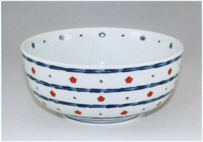 源右衛門窯 染錦赤梅小紋割麺鉢