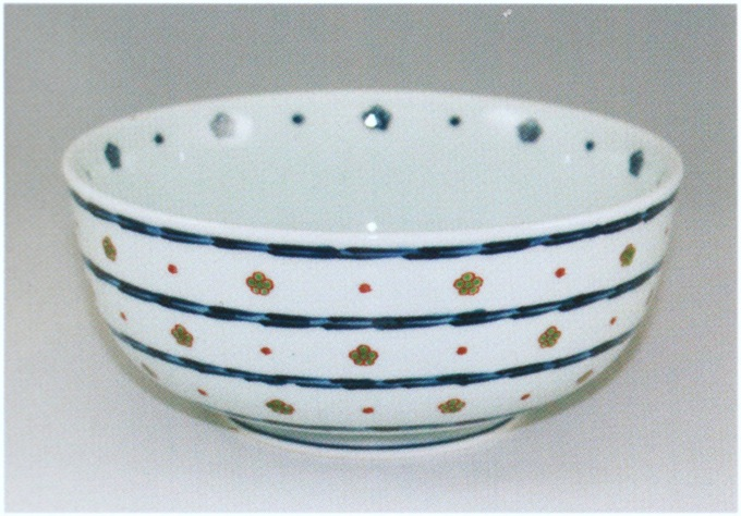 源右衛門窯 染錦緑梅小紋割麺鉢