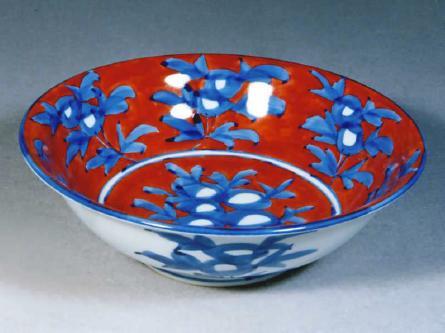 源右衛門窯 赤濃牡丹絵鉢 (丸型 大)