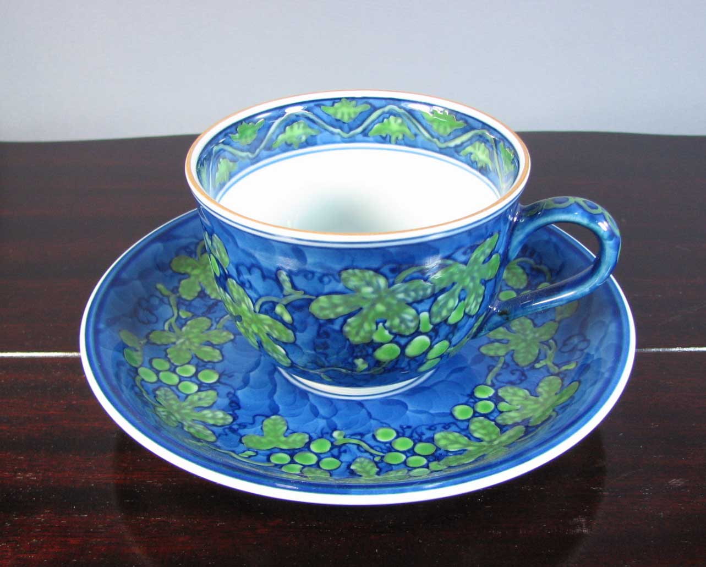 源右衛門窯 緑彩葡萄絵碗皿