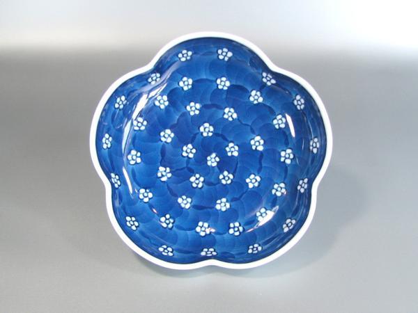 源右衛門窯 染付梅地紋梅型小皿