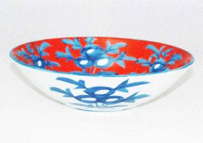 源右衛門窯 赤濃牡丹絵鉢