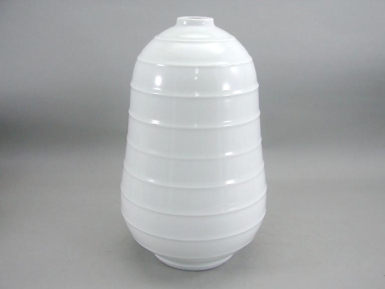人間国宝 井上萬二作 白磁線壺 (径 約18.5cm 高さ約30cm)