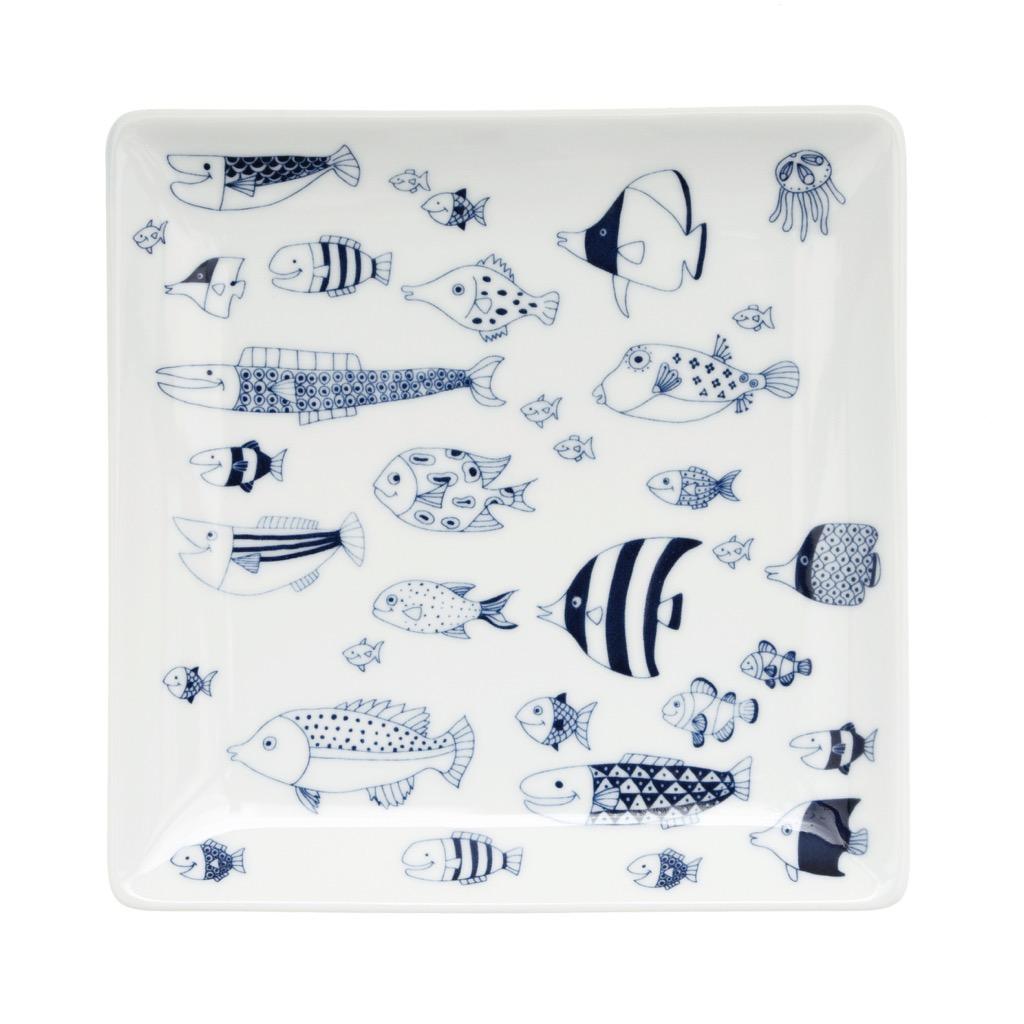波佐見焼 natural69 水族館 美ら海 那かむた 大陶器市 釣りよかでしょう 釣りよか cocomarine スクエア皿 正角皿 ナチュラルロック 魚の群れ 買収 食器 ナチュラル69 約17cm 期間限定送料無料 北欧 スクウェア皿