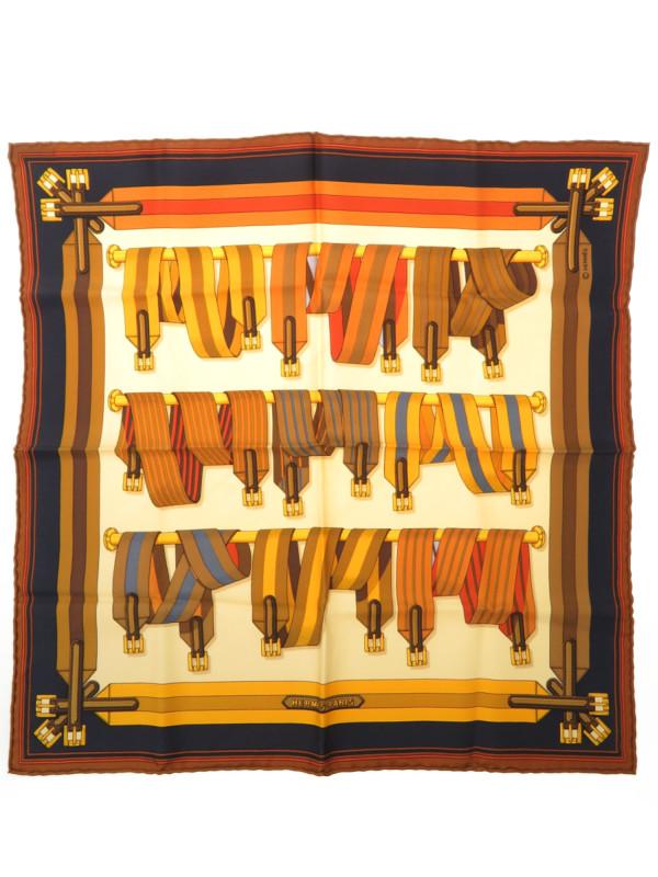 【HERMES】エルメス『ポケットチーフカレ45 ベルト柄』レディース スカーフ 1週間保証b02f/h08AB