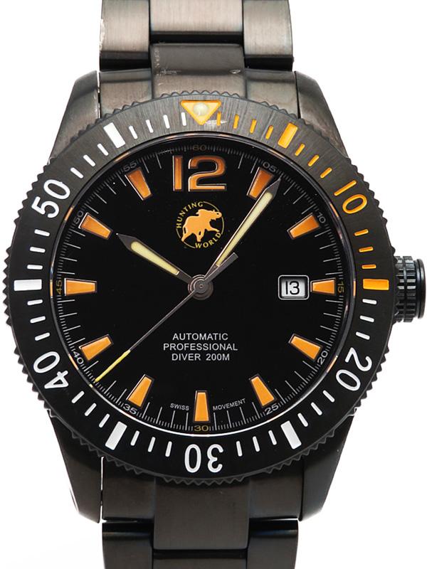 【HUNTING WORLD】ハンティングワールド『ブラック ウォーター ダイバー2』HW004 メンズ 自動巻き 1週間保証【中古】b05w/h11A