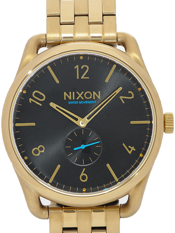 【NIXON】【'18年メーカー電池交換済】【'17年購入】ニクソン『C45 ラウンドウォッチ』NA951510-00 メンズ クォーツ 1週間保証【中古】b03w/h21A