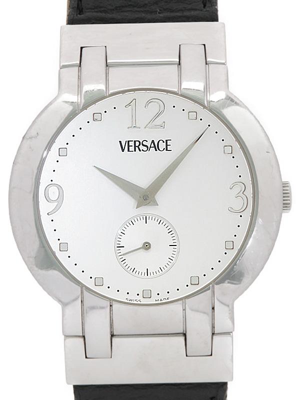 【Versace】【電池交換済】ヴェルサーチ『スモールセコンド』BLQ99 メンズ クォーツ 1週間保証【中古】b01w/h02B