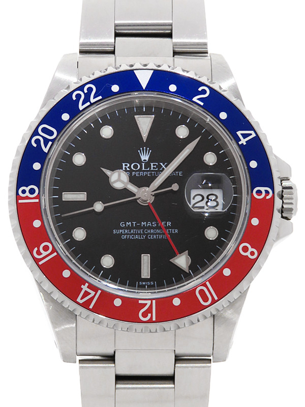 【ROLEX】【ペプシベゼル】【'17年日ロレOH済】ロレックス『GMTマスター 赤×青ベゼル』16700 U番'97年頃製 メンズ 自動巻き 12ヶ月保証【中古】b02w/h03AB