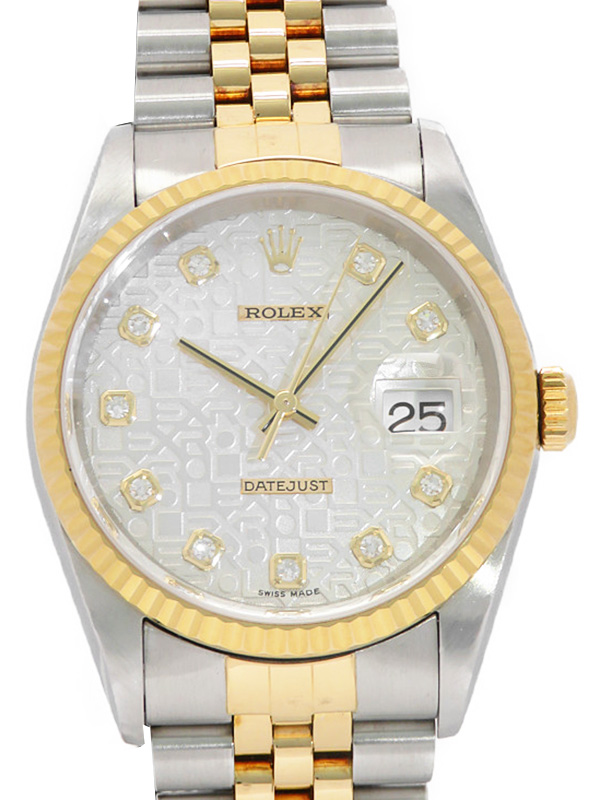 【ROLEX】【コンピュータ文字盤】ロレックス『デイトジャスト 10Pダイヤ』16233G P番'00年頃製 メンズ 自動巻き 12ヶ月保証【中古】b02w/h09AB