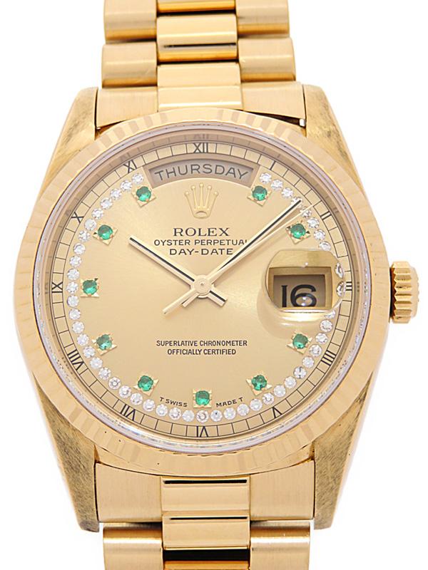 【ROLEX】ロレックス『デイデイト サークルダイヤ&10Pエメラルド』18238LE E番'90年頃製 メンズ 自動巻き 12ヶ月保証【中古】b06w/h17A