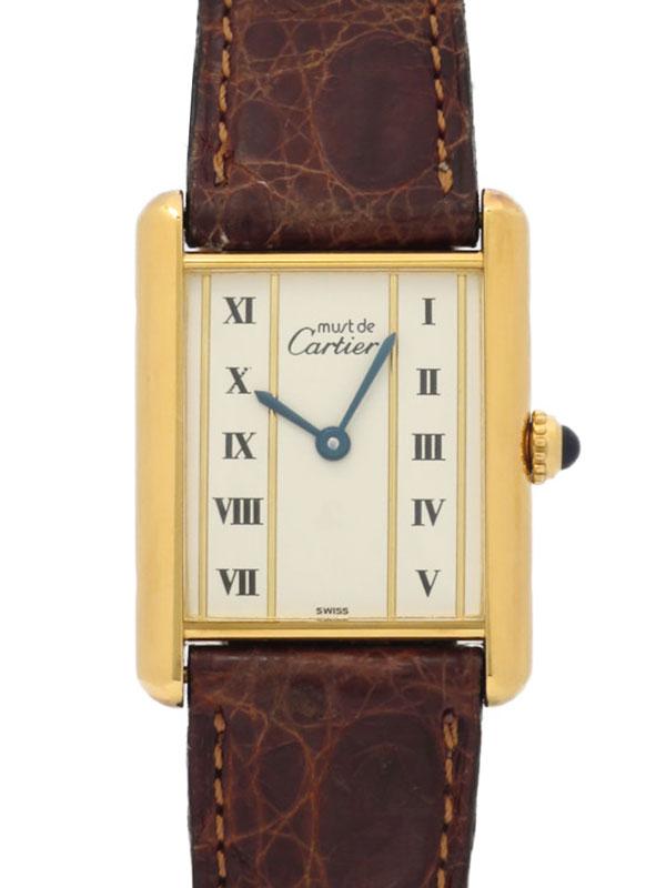 【Cartier】【電池交換済】カルティエ『マストタンク ヴェルメイユ』レディース クォーツ 1ヶ月保証【中古】b02w/h03B