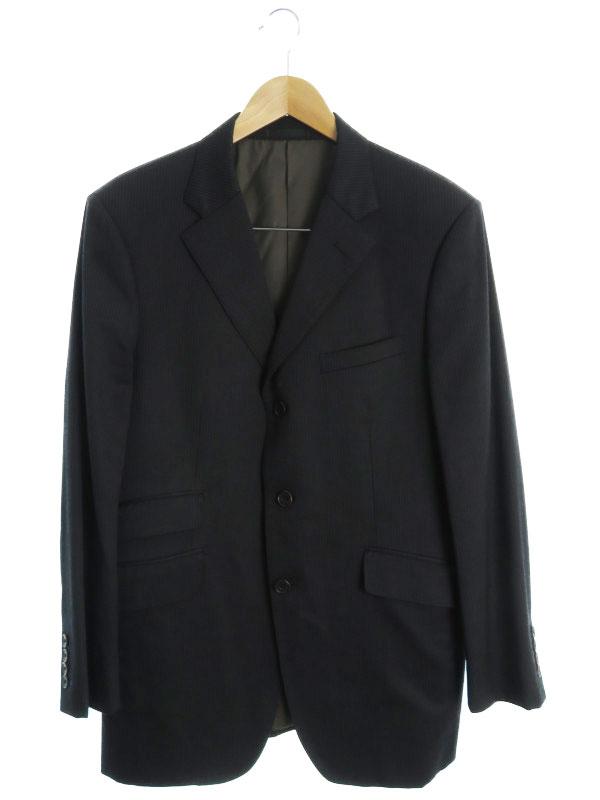 【BURBERRY BLACK LABEL】【上下セット】バーバリーブラックレーベル『ストライプ柄スーツ size40L』BMD22-308-59 メンズ セットアップ 1週間保証【中古】b03f/h18AB