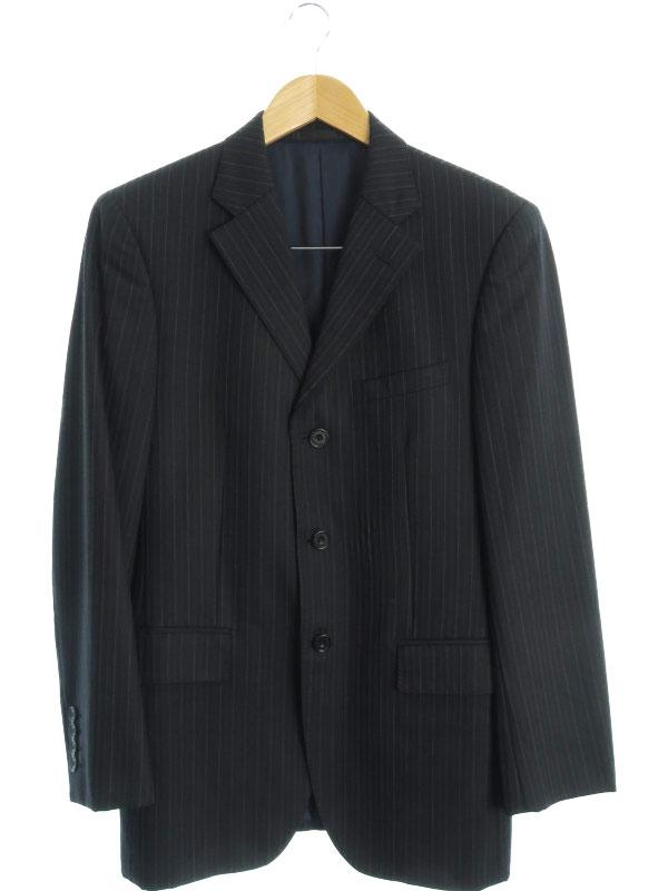 【BURBERRY BLACK LABEL】【Super 100'S】【日本製】バーバリーブラックレーベル『ストライプ柄スーツ size38R』BMD01-300-09 メンズ セットアップ【中古】b03f/h04AB