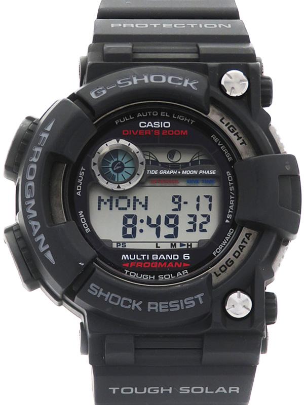 【CASIO】【G-SHOCK】【'18年メーカーベルト交換済】カシオ『Gショック フロッグマン』GWF-1000-1JF メンズ ソーラー電波クォーツ 1週間保証【中古】b02w/h09A