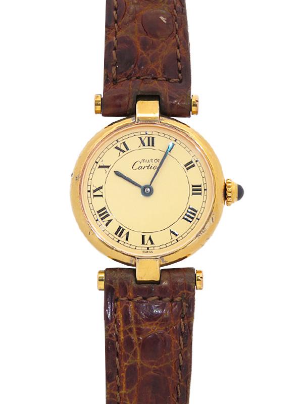 【Cartier】【電池交換済】カルティエ『マストヴァンドーム ヴェルメイユ』レディース クォーツ 1ヶ月保証【中古】b05w/h10AB