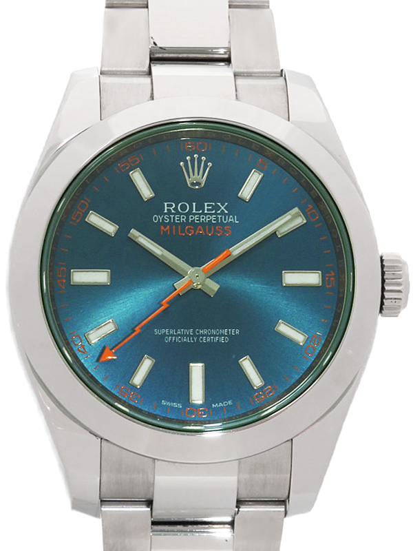 【ROLEX】【Zブルー】【'17年購入】ロレックス『ミルガウス グリーンガラス』116400GV ランダム番 メンズ 自動巻き 12ヶ月保証【中古】b03w/h12A